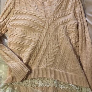Monteau pink high low lace sweater
